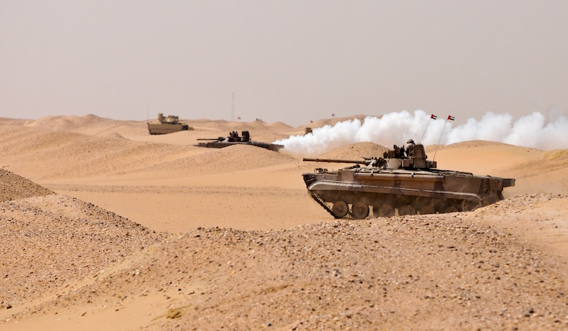 A United Arab Emirate Boyevaya Mashina Pekhoty moves across the desert to engage a simulated target during a joint exercise at Udairi range, Kuwait, Sept. 27, 2016. U.S. and UAE forces trained together during a multi-day exercise designed to test armored vehicle maneuver and reaction capabilities. (U.S. Army Photos by Sgt. Aaron Ellerman)