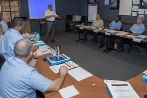 Brian Hall, 12th Maintenance Group operations division chief, discusses leadership principals with members of the 12th MXG Jan. 25, 2017, at Joint Base San Antonio-Randolph. The 12th MXG maintains T-38C Talons, T-1 Jayhawks and T-6 Texans for the 12th Flying Training Wing. (U.S. Air Force photo by Senior Airman Stormy Archer)