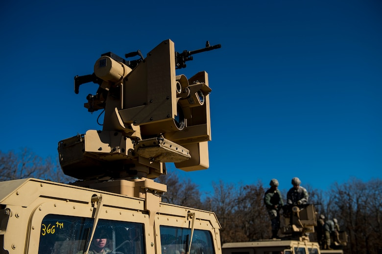 A Common Remotely Operated Weapon Station (CROWS) is mounted on top of a High Mobility Multipurpose Wheeled Vehicle during a fielding to U.S. Army Reserve units at Fort Chaffee, Arkansas, Jan. 23-27, as part of a four-part fielding process intended to field CROWS to more than 25 Army Reserve units this fiscal year. The CROWS is a remote-controlled system compatible with four major crew-serve weapons, and it was developed to keep gunners safe within the vehicle while engaging enemy targets. (U.S. Army Reserve photo by Master Sgt. Michel Sauret)
