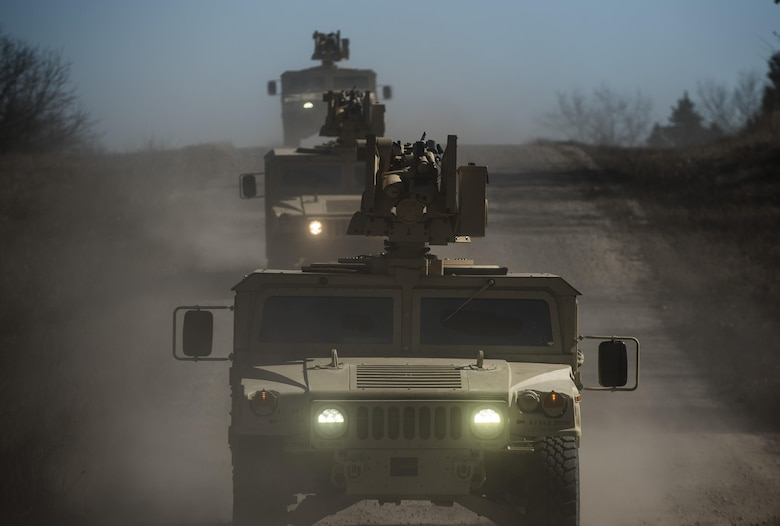 Common Remotely Operated Weapon Stations (CROWS) are mounted on top of a convoy of High Mobility Multipurpose Wheeled Vehicles during a fielding to U.S. Army Reserve units at Fort Chaffee, Arkansas, Jan. 27. The CROWS is a remote-controlled system compatible with four major crew-serve weapons, and it was developed to keep gunners safe within the vehicle while engaging enemy targets. (U.S. Army Reserve photo by Master Sgt. Michel Sauret)
