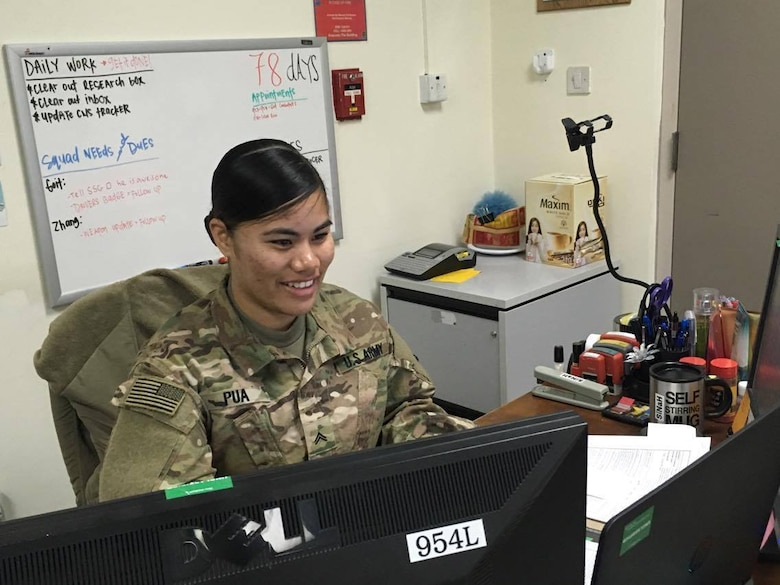 Cpl. Masina Pua, a Financial Management Technician with Charlie Detachment, 9th Financial Management Support Unit, from Joint-Base-Lewis-McChord, Wash.