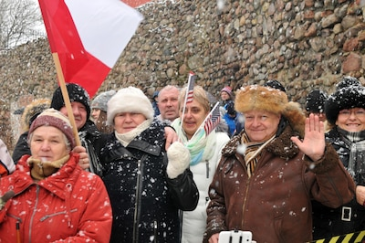 Residents of Zagan, Poland, welcome American soldiers to their country  during a ceremony at Gen. Stanislaw Macek Park, Jan. 14, 2017. The celebration was an opportunity for the Polish people to welcome soldiers from the 3rd Armored Brigade Combat Team, 4th Infantry Division. Army photo by Staff Sgt. Elizabeth Tarr