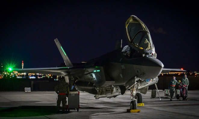 An F-35A Lightning II from Hill Air Force Base, Utah, undergoes preflight preparations to take-off from Nellis Air Force Base, Nev., Jan. 24, 2017, during Red Flag 17-1. The F-35's state-of-the-art sensor fusion, networked interoperability, and broad array of advanced air-to-air and air-to-surface munitions enables unmatched lethality for decades. (U.S. Air Force photo by Airman 1st Class Nathan Byrnes/Released)