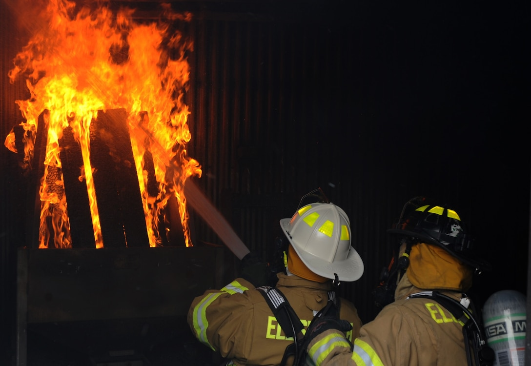 Members of the 28th Civil Engineer Squadron Fire and Emergency Services conduct training at Ellsworth Air Force Base, S.D., on March 29, 2016. Cooking is the biggest cause of home fires, which is way kitchen fire safety is so important. (U.S. Air Force photo by Airman 1st Class Denise Jenson)