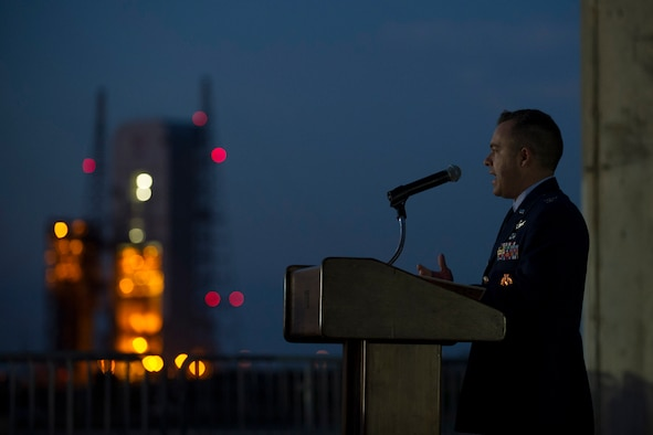 Col. Z. Walter Jackim, 45th Space Wing vice commander and guest speaker, talks to the audience of 100 about the 3 space pioneers who gave the ultimate sacrifice during the 50th anniversary of the Apollo 1 tragedy at Cape Canaveral Air Force Station, Fla. (U.S. Air Force photo/Phil Sunkel)