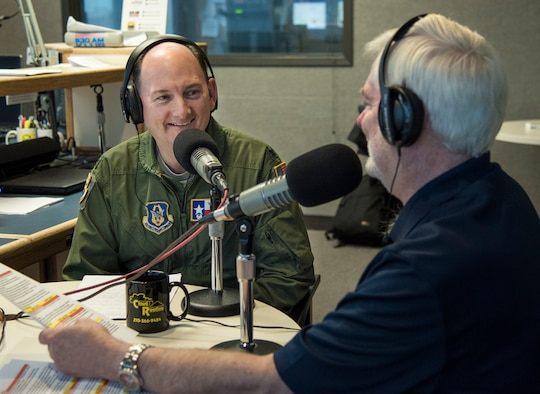 Col. Thomas K. Smith, Jr., 433rd Airlift Wing commander, responds to an interview question by Mark Frye on the Military USA Radio show Jan. 28, 2016 at Salem Communications San Antonio, Texas. The show runs every Saturday from 8 to 9 a.m. and seeks to inform and educate listeners about the importance of the more than 200 military missions in the Alamo city.   (U.S. Air Force photo by Benjamin Faske)
