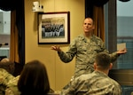 DLA Energy Commander Air Force Brig. Gen. Martin Chapin addresses attendees during the 2017 Joint Petroleum Seminar held at the McNamara Headquarters Complex, Jan. 23-25. The annual DLA Energy seminar is held to strengthen relationships between Department of Defense petroleum leaders, exchange ideas and increase operational and organizational effectiveness.