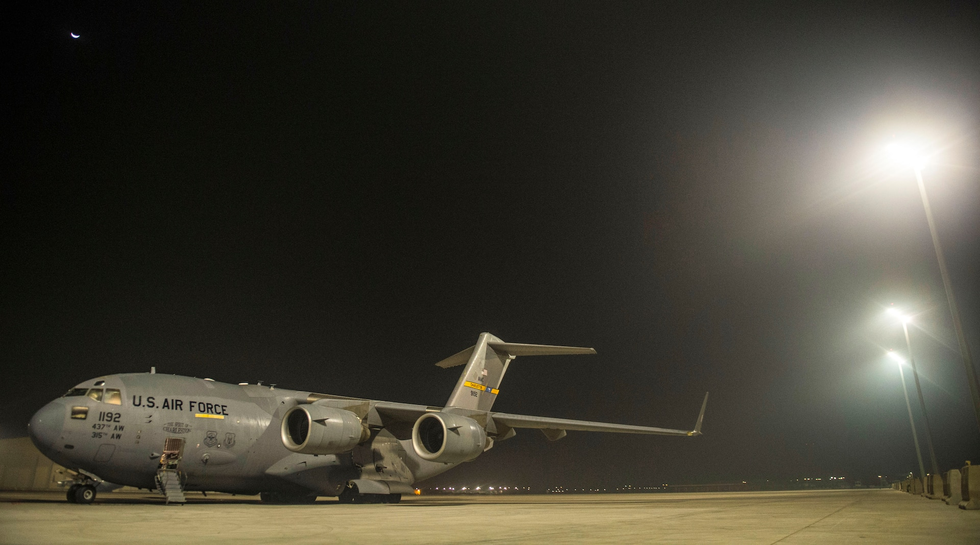 An 816th Expeditionary Airlift Squadron C-17 Globemaster III sits on the flightline in preparation for takeoff in support of Combined Joint Task Force - Operation Inherent Resolve Oct. 25, 2016. The 816th EAS delivered fire engines to Iraq. The squadron is actively engaged in tactical airlift operations supporting the Mosul offensive. (U.S. Air Force photo by Staff Sgt. Matthew B. Fredericks)