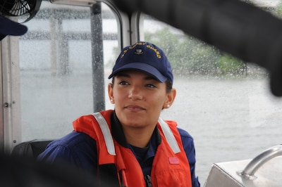 Coast Guard Petty Officer 3rd Class Casondra Minifield, a native of Winchester, Virginia, takes part in training on a 25-foot Coast Guard response boat at U.S. Coast Guard Station Curtis Bay in Baltimore, May 21, 2016. Minifield, who is currently a graduate student at Marymount University, is a reserve boatswain's mate who hopes to advance in the Coast Guard while seeking a career in federal law enforcement. Coast Guard photo by Petty Officer 2nd Class Lisa Ferdinando