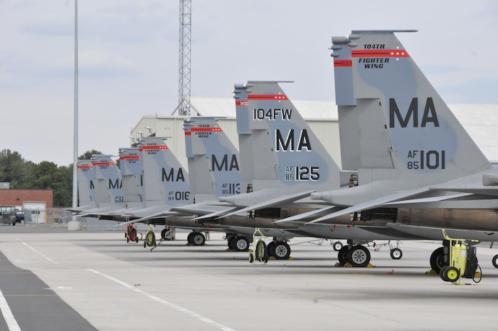 "The 104th Fighter Wing, Massachusetts Air National Guard F-15 aircraft remain ready on the flight line at Barnes Air National Guard Base, Massachusetts. The 104th Fighter Wing received the highest rating of ""Mission Ready"" on the North American Aerospace Defense Command (NORAD) Inspector General (IG) Alert Force Evaluation, January 27, 2017.(U.S. Air National Guard Photo by Senior Master Sgt. Julie Avey)"
