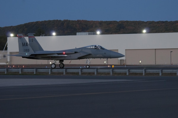 "The 104th Fighter Wing, Massachusetts Air National Guard, F-15 fighter jets launch during night flying training at Barnes Air National Guard Base. The 104th Fighter Wing received the highest rating of ""Mission Ready"" on the North American Aerospace Defense Command (NORAD) Inspector General (IG) Alert Force Evaluation, January 27, 2017.(U.S. Air National Guard Photo by Senior Master Sgt. Julie Avey)"