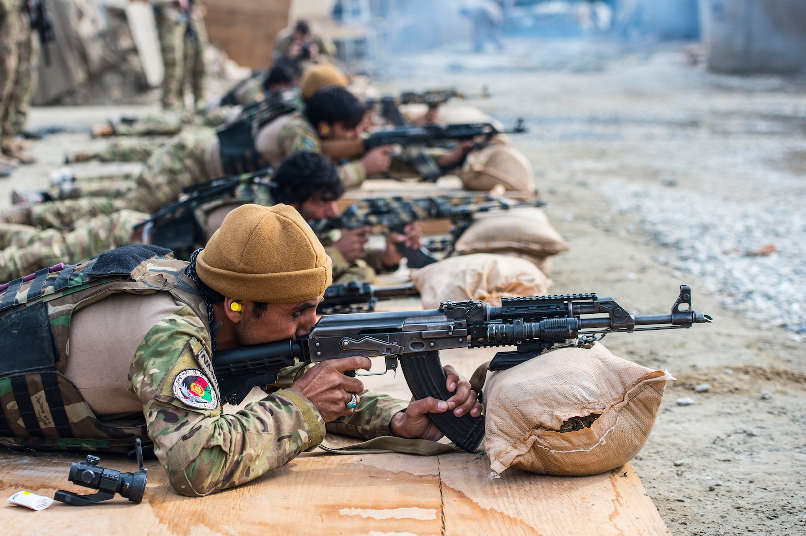 Afghan National Mine Removal Group soldiers zero weapons during marksmanship training at Jalalabad on Jan. 21, 2017. The NMRG is Afghanistan's premier force for route clearance and mine reduction. (U.S. Air Force photo by Staff Sgt. Matthew B. Fredericks)