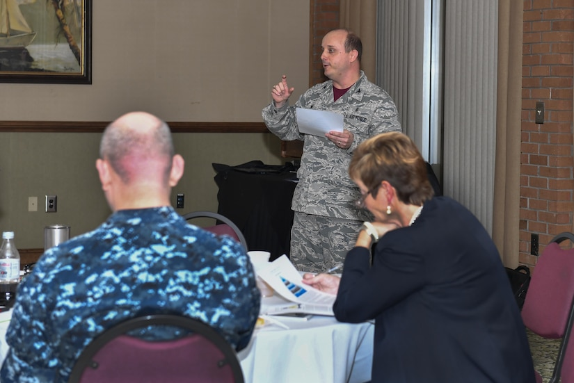 U.S. Air Force Col. R. Craig Lambert, 628th Medical Group commander, gives opening comments during a capstone training event at the Storm Pointe Conference Center on the Joint Base Charleston-Weapons Station, Jan. 27, 2017. During the event members of the 628th MDG demonstrated what they learned by sharing real-world challenges which could have been avoided by following the principles NPTU currently uses.