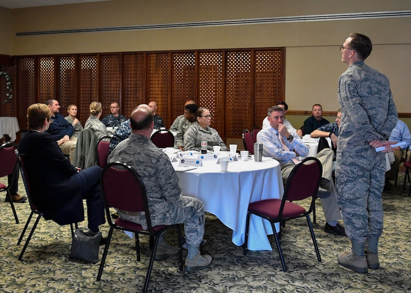 U.S. Air Force Capt. Chuck Hutchings, 628th Medical Group (MDG) pediatrician, shares learning experiences from training with the Nuclear Power Training Unit (NPTU) during a capstone training event at the Storm Pointe Conference Center on the Joint Base Charleston-Weapons Station, Jan. 27, 2017. During the event members of the 628th MDG demonstrated what they learned by sharing challenges which could have been avoided by following the principles NPTU currently uses.