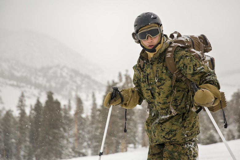 1st Lt. Christian Lara, platoon commander, 2nd Battalion, 2nd Marine Regiment, makes his way uphill while working on skiing techniques at Mountain Training Exercise 1-17 in the Marine Corps Mountain Warfare Training Center Bridgeport, Calif., training area Jan. 19, 2016. MCMWTC is one of the Marine Corps' most secluded posts, comprised of approximately 46,000 acres of terrain with elevations ranging from 5,000 to 11,000 feet. The exercise trains elements of the Marine air-ground task force across the warfighting functions for operations in mountainous, high-altitude and cold-weather environments in order to enhance a unit's ability to shoot, move, communicate, sustain and survive in the most rugged regions of the world. (U.S. Marine Corps photo by Cpl. Levi Schultz)