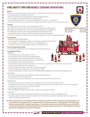 Fire safety tips for mobile cooking operations