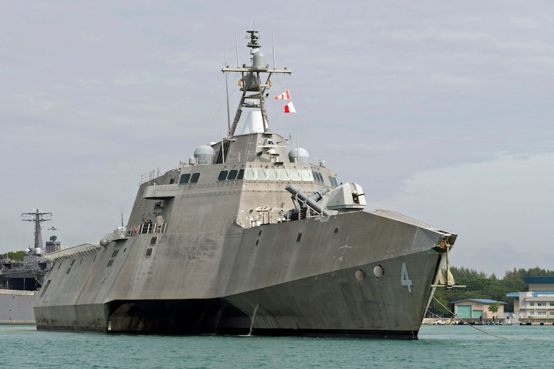 Littoral combat ship USS Coronado (LCS 4) departs Changi Naval Base for an underway period to prepare for upcoming operations and maritime security engagements in the region, Jan. 31, 2017. Currently on a rotational deployment in support of the Asia-Pacific Rebalance, Coronado is a fast and agile warship tailor-made to patrol the region's littorals and work hull-to-hull with partner navies, providing 7th Fleet with the flexible capabilities it needs now and in the future.