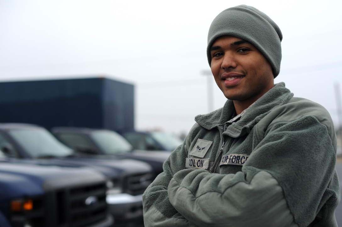 U.S. Air Force Airman 1st Class Alexander Colon, 19th Logistics Readiness Squadron Vehicle Operations shop operator and dispatcher, issues vehicles and inspects them for defects Jan. 12, 2017, at Little Rock Air Force Base, Ark. The 25 operators and dispatchers oversee and issue government vehicles to DOD personnel for official use, as well as operating the vehicles when necessary. (U.S. Air Force photo by Airman 1st Class Grace Nichols)