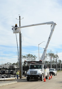 Georgia Power personnel work to restore power to Marine Corps Logistics Base Albany, Jan. 27.