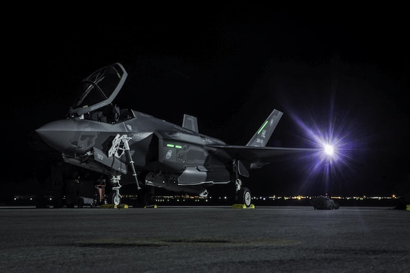 An F-35A Lightning II assigned to Hill Air Force Base, Utah, sits on the flightline before participating in Red Flag 17-1 on Nellis Air Force Base, Nev., Jan. 24, 2017. Air-to-air combat training exercises the fifth generation aircraft will be participating in are conducted over the 2.9 million acres of the Nevada Test and Training Range. (U.S. Air Force photo by Airman 1st Class Kevin Tanenbaum/Released)