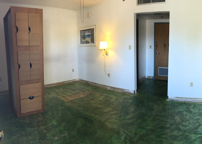 A Dorm Room Is Stripped Of Its Furniture And Flooring On Tyndall Air Force  Base,