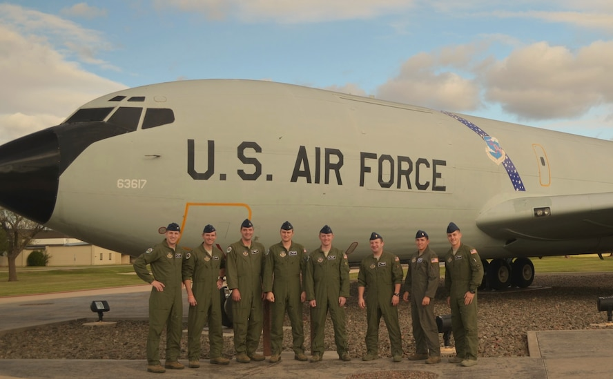 As the 914th Airlift Wing continues the transition to its new mission as an Air Refueling Wing, the first group of veteran aircrew members to train at Altus AFB Oklahoma on the KC-135 airframe will graduate and begin returning home in February.  This return of 328th Airlift Squadron aircrew members coincides with the arrival of the first KC-135 to enter the 914th inventory in February.  Pictured left to right:  Capt. Chris Pike, Capt. Cory Bota, Maj. Dennis Jakubczyk, Lt. Tyler Savoie, Capt. Travis Richards, Maj. Justin Fadem, Lt. Colton Thomas, Senior Airman Charles Meagher.  (Courtesy Photo)