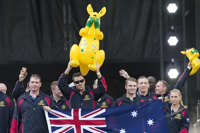 Team Australia carries an inflatable kangaroo as they enter the 2017 Department of Defense Warrior Games opening ceremony at Soldier Field in Chicago, July 1, 2017. The DoD Warrior Games are an annual event allowing wounded, ill and injured service members and veterans to compete in Paralympic-style sports. DoD photo by EJ Hersom