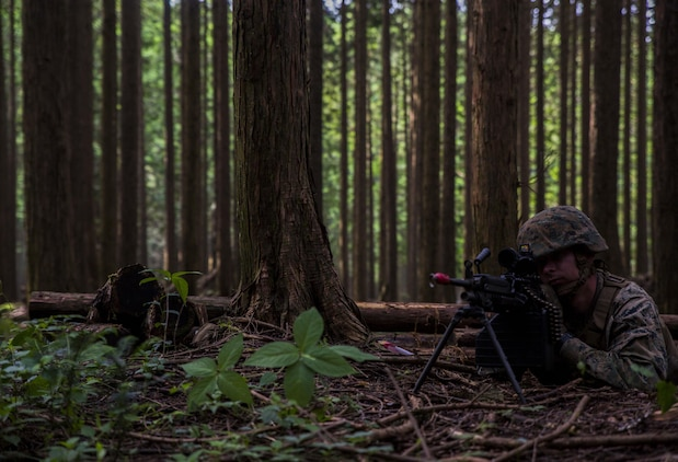 U.S. Marine Corps Cpl. Zach Clatterbuck, a motor transport Marine attached to Marine Wing Support Squadron (MWSS) 171, based out of Marine Corps Air Station Iwakuni, positions himself in a machine gun nest to provide security for a forward operating base during exercise Eagle Wrath 2017 at Combined Arms Training Center Camp Fuji, Japan, June 24, 2017. Forward operating bases and forward arming and refueling points were established during the two-week exercise to train the Marines to provide explosives, weaponry, fuel, security, logistics and personnel to a forward line of troops and aircraft. (U.S. Marine Corps photo by Lance Cpl. Stephen Campbell)