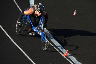 Army veteran Sgt. Brandi Evans competes in wheel chair racing during the 2017 Department of Defense Warrior Games at Lane Technical College Preparatory High School in Chicago, July 2, 2017. DoD photo by EJ Hersom