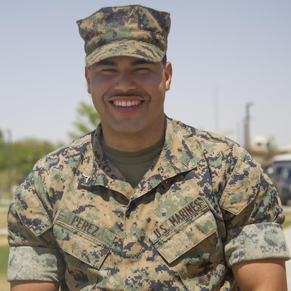 Lance Cpl. Lisandro Perez made the decision to join the Marine Corps as a tank crewman to put his life on a better path. Perez graduated Tank Commander's course as a Lance Corporal and sets the example by being a role model for his son and younger siblings. (U.S. Marine Corps photo by Sgt. Connor Hancock)