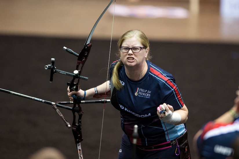 United Kingdom Royal Air Force Flight Lt. Jennifer Collins reacts to winning gold in the 2017 Department of Defense Warrior Games in Chicago, July 3, 2017. The DoD Warrior Games are an annual event allowing wounded, ill and injured service members and veterans to compete in Paralympic-style sports. DoD photo by EJ Hersom
