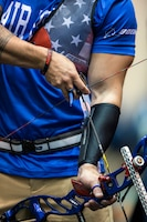 An archer nocks an arrow during archery competition in the 2017 Department of Defense Warrior Games in Chicago, July 3, 2017. The DoD Warrior Games are an annual event allowing wounded, ill and injured service members and veterans to compete in Paralympic-style sports. DoD photo by EJ Hersom