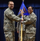 U.S. Air Force Lt. Col. Jennifer Lavergne (right), 39th Medical Support Squadron incoming commander, assumes command of the 39th MDSS from Col. Vito Smyth, 39th Medical Group commander June 30, 2017, at Incirlik Air Base, Turkey. A change of command is a ceremony where the outgoing commander formally transfers authority and responsibility to the new incoming commander. (U.S. Air Force photo by Senior Airman Jasmonet D. Jackson)