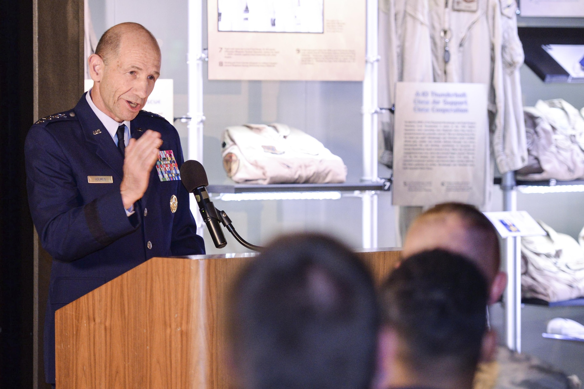 U.S. Air Force Gen. Mike Holmes, commander, Air Combat Command, provides remarks during the Silver Star medal presentation for retired Air Force Lt. Col. Gregory Thornton at the National Museum of the United States Air Force in Dayton, Ohio, June 30, 2017. Thornton received the metal for his actions on April 6, 2003 while supporting 'Advance 33,' the call sign for a ground forward air controller attached to Task Force 2nd Battalion, 69th Armor, during combat operations in Iraq. The Silver Star is the third highest medal for valor in the military. (U.S. Air Force photo by Wesley Farnsworth)