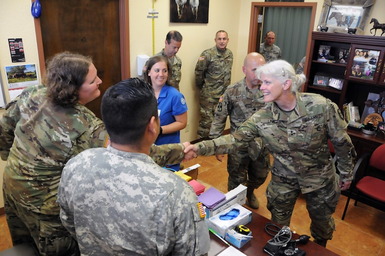 Maj. Gen. Mary Link, commanding general for Army Reserve Medical Command, visits her Soldiers providing medical services at Fred and Anita Bruni Community Center in Laredo, Texas.  Approximately 125 U.S. Army Reserve Soldiers are working in partnership with the Texas A&M Colonias program to provide medical care to Webb County's under-served Colonias population.  Services provided by Army Reserve personnel are done through the Department of Defense's Innovative Readiness Training, a civil-military program that builds mutually beneficial partnerships between U.S. communities and the DoD. The missions selected meet training & readiness requirements for Army Reserve service members while integrating them as a joint and whole-of-society team to serve our American citizens.