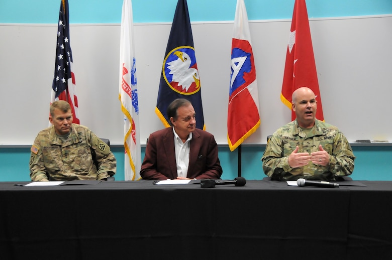Lt. Gen. Jeffrey Buchanan, commanding general for U.S. Army North; joins Mr. John Sharp, chancellor for Texas A&M University; and Brig. Gen. John Hashem, Army Reserve Engagement Cell director and deputy commanding general - support at U.S. Army North; to sign a partnership agreement between The Texas A&M University System, U.S. Army Reserve Command and U.S. Army North to facilitate future collaborations using existing resources to provide mutually beneficial opportunities.  The partnership signing event evolved from relationships built when Webb County, the U.S. Army Reserve and the U.S. Navy worked in partnership with Texas A&M University to provide various services to the local community within Webb County from June 19 - 29, 2017.   Services provided by military personnel are done as part of the Department of Defense's Innovative Readiness Training, a civil-military program that builds mutually beneficial partnerships between U.S. communities and the DoD to meet training & readiness requirements for Active, Guard and Reserve service members while addressing public and civil society needs.
