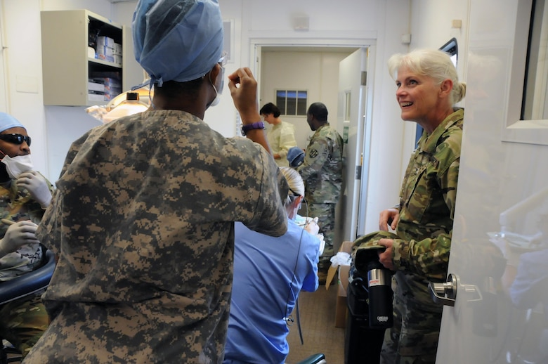 Maj. Gen. Mary Link, commanding general for Army Reserve Medical Command, visits her Soldiers providing medical services at El Cenizo Community Center in El Cenizo, Texas.  Approximately 125 U.S. Army Reserve Soldiers are working in partnership with the Texas A&M Colonias program to provide medical care to Webb County's unde-rserved Colonias population.  Services provided by Army Reserve personnel are done through the Department of Defense's Innovative Readiness Training, a civil-military program that builds mutually beneficial partnerships between U.S. communities and the DoD. The missions selected meet training & readiness requirements for Army Reserve service members while integrating them as a joint and whole-of-society team to serve our American citizens.
