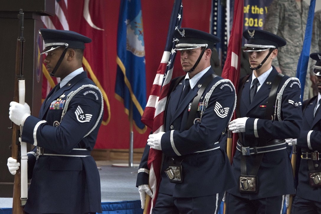 The Incirlik Air Base Honor Guard participates in the 39th Logistics Readiness Squadron change of command June 29, 2017, at Incirlik Air Base, Turkey. Lt. Col. Phillip Wheeler, 39th Logistics Readiness Squadron outgoing commander, relinquished command to Maj. Matthew Shaw, incoming 39th LRS commander. (U.S. Air Force photo by Airman 1st Class Kristan Campbell)