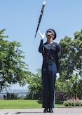 Airman 1st Class Tyrell Hall, U.S. Air Force Honor Guard Drill Team member, practices a rifle maneuver prior to a performance at Sea World in San Diego, Ca., June 27, 2017. To perform professionally choreographed sequences of weapon maneuvers, drill team members must attend an eight-week course as well as repeatedly practicing each routine. (U.S. Air Force photo by Senior Airman Jordyn Fetter)
