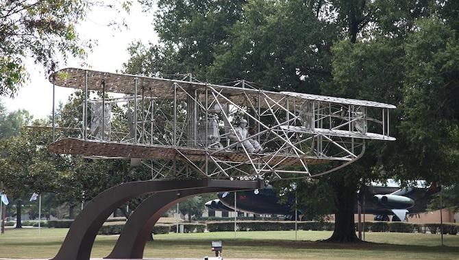 Wright Flyer monument at Air Park at Maxwell Air Force Base in Montgomery, Alabama.