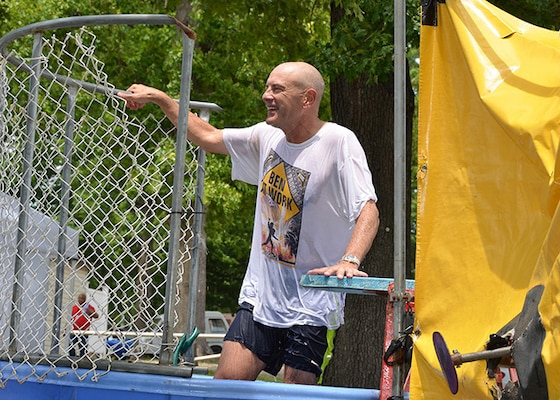 The Civilian Welfare Fund sponsored a dunk tank fundraiser at the Bellwood Bash event held May 18, 2017. Defense Logistics Agency Aviation's Deputy Commander Charlie Lilli did his part by volunteering to get dunked. All funds raised are deposited into an CWF managed account, then returned to the workforce in the form of morale building activities.
