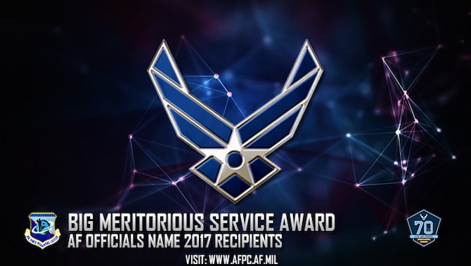 Air Force officials recently named the winners for the 2017 Blacks in Government Meritorious Service Award. The award honors military members and Department of Defense civilian employees who have supported military missions or overseas contingency operations, or whose attributes best epitomize the qualities and core values of their service branch or other DOD component. (U.S. Air Force graphic by Staff Sgt. Alexx Pons)