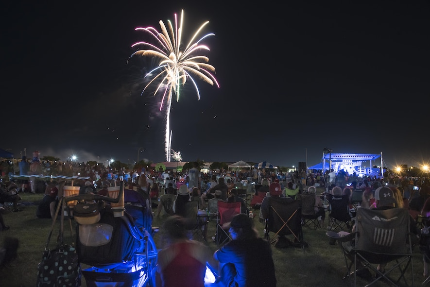 Wichita Falls, Texas, guests nearly filled the entire Freedom Fest event site at Sheppard Air Force Base as the sun began to set, July 4, 2017. The Freedom Fest firework display featured more than 1,000 shells that cracked, popped and lit up the night sky to conclude the event. (U.S. Air Force photo by Staff Sgt. Kyle E. Gese)