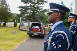 Joint Base McGuire-Dix-Lakehurst honor guard perform ceremony at the funeral of George Watson Sr. in Lakewood, New Jersey, July 1, 2017. Community members joined the Joint Base in celebrating the life of the Tuskegee Airman, he was 96 years old.