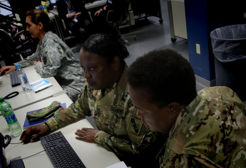 Active duty, reserve and National Guard service members participate in the Cyber Guard and Cyber Flag exercises sponsored by U.S. Cyber Command. The exercises focused on developing coordinated state government, National Guard, commercial enterprise, Defense Department and interagency responses to significant cyberspace-enabled attacks on U.S. domestic critical infrastructure by hostile actors. Cybercom photo by Navy Chief Petty Officer Dennis J. Herring