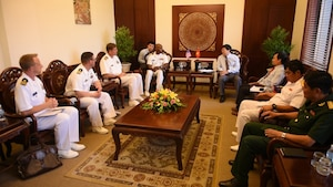 U.S. sailors from Destroyer Squadron 7 and the littoral combat ship USS Coronado (LCS 4) meet with members of the Khanh Hoa People's Committee during Naval Engagement Activity (NEA) Vietnam, July 5,  2017.  The engagement provides an opportunity for Sailors from the U.S. and Vietnam People's Navy to interact and share knowledge to enhance mutual capabilities and strengthen solid partnerships.