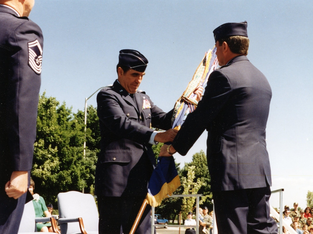 """92nd Bomb Wing re-designated as 92nd Air Refueling Wing, and Fairchild Air Force Base was transferred from Air Combat Command to Air Mobility Command. The ceremony marked the creation of the largest ARW in the Air Force with five active during air refueling squadrons totaling more than 60 KC-135s assigned. Dubbed, """"Tanker Hub of the Northwest,"""" the wing was capable of maintaining an air bridge across the nation and world in support of U.S. and allied forces. The first commander was Brig. Gen. Gary Voellger. (Courtesy Photo)"""