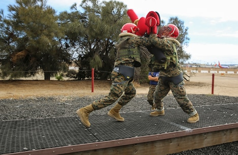 Recruits with Mike Company, 3rd Recruit Training Battalion, compete against each other during Pugil Sticks II at Marine Corps Recruit Depot San Diego, May 25. Recruits were encouraged to use the techniques they learned in their Marine Corps Martial Arts Program classes to overcome their opponents. Annually, more than 17,000 males recruited from the Western Recruiting Region are trained at MCRD San Diego. Mike Company is scheduled to graduate July 21.
