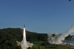 An M270 Multiple Launch Rocket System from 1st Battalion, 18th Field Artillery