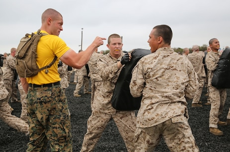 A drill instructor with Fox Company, 2nd Recruit Training Battalion, corrects a recruit during a Marine Corps Martial Arts Program session at Marine Corps Recruit Depot San Diego, June 23. Drill instructors walked around during the training process to make sure each recruit was executing the technique correctly. Recruits can use this time to ask drill instructors questions if they are unsure of how to properly conduct the move. Annually, more than 17,000 males recruited from the Western Recruiting Region are trained at MCRD San Diego. Fox Company is scheduled to graduate Sept. 8.